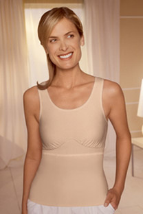 Image of woman wearing mastectomy tank top